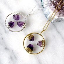 Load image into Gallery viewer, Triple Amethyst Point Hoop Necklaces