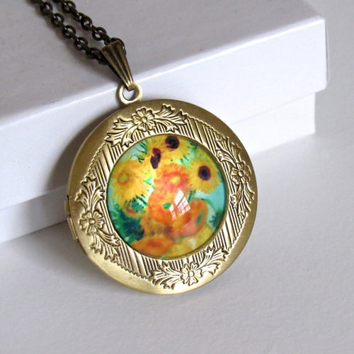 Antique Bronze Sunflower Van Gogh Locket