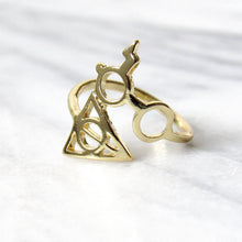 Load image into Gallery viewer, Gold Harry Potter Deathly Hallows Rings