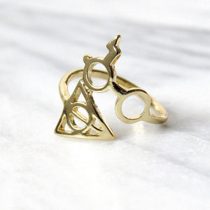 Gold Harry Potter Deathly Hallows Rings