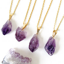 Load image into Gallery viewer, Gold Amethyst Point Necklaces