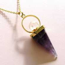Load image into Gallery viewer, Crystal Ball Amethyst Necklaces