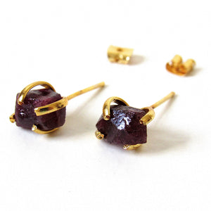 Raw Tourmaline Stud Earrings
