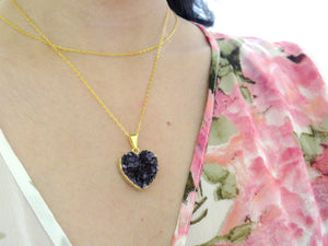 Amethyst Heart Cluster Necklaces