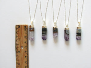 Silver Cylindrical Amethyst Necklaces