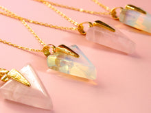 Load image into Gallery viewer, Golden Rose Quartz Arrow Necklaces