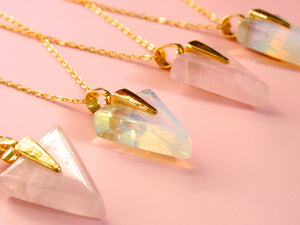 Golden Rose Quartz Arrow Necklaces