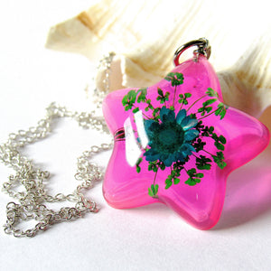 (On Sale!) Blue Blooming Star Real Flower Necklaces