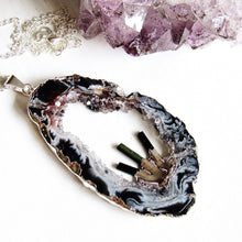 Load image into Gallery viewer, Tourmaline Geode Necklaces (Silver)