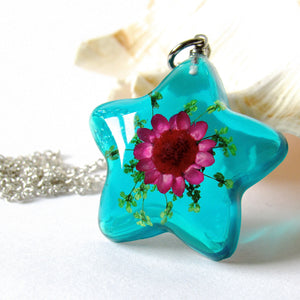 (On Sale!) Aquamarine Real Flower Necklaces