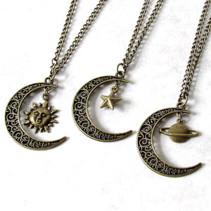 Bronze Crescent Moon Charm Necklace