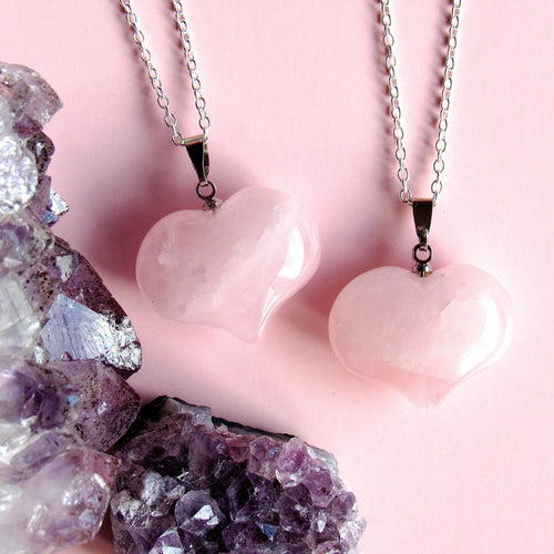 Blushing Rose Quartz Heart Necklaces