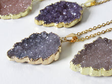 Load image into Gallery viewer, Golden Leaf Druzy Necklaces