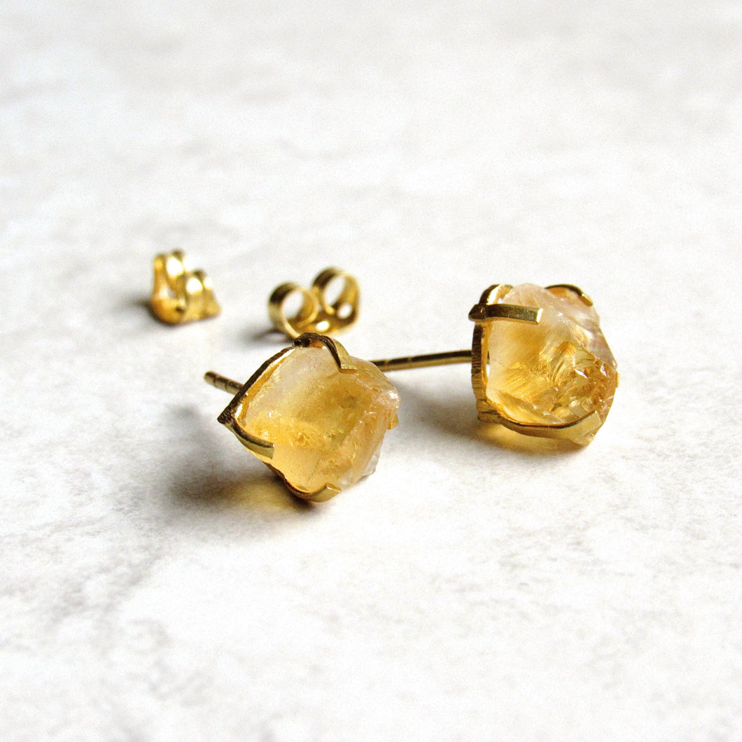 Raw Citrine Point Stud Earrings