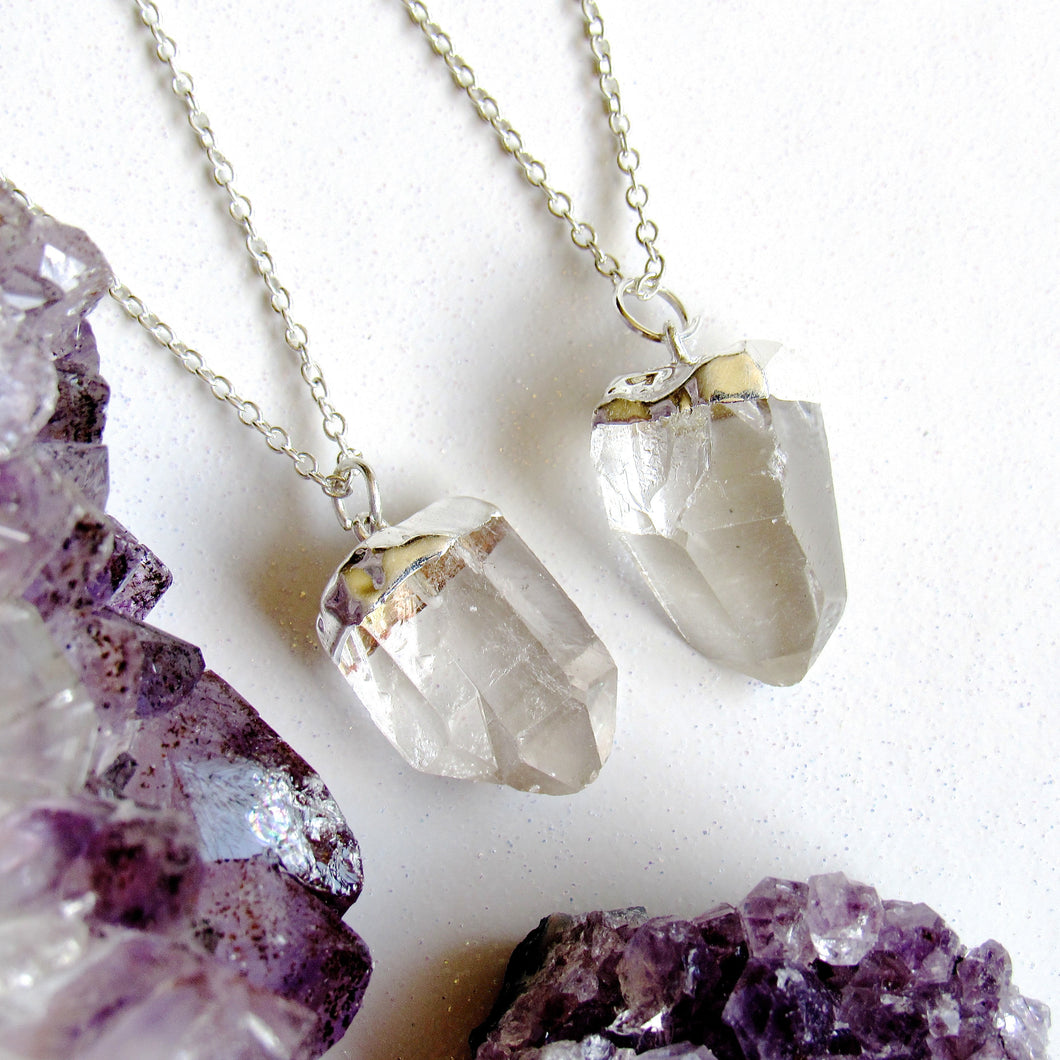 Petite Silver Quartz Point Necklaces