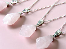 Load image into Gallery viewer, Rose Quartz Raindrop Necklaces