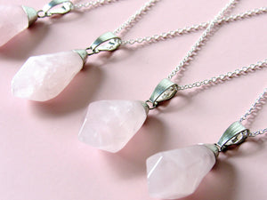 Rose Quartz Raindrop Necklaces