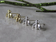 Load image into Gallery viewer, Tiny Silver Bee Earrings