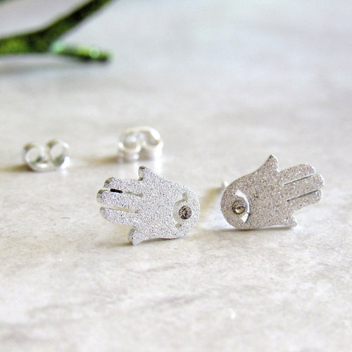 Sparkling Silver Hamsa Earring Studs
