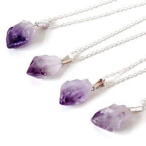 Silver Amethyst Point Necklaces