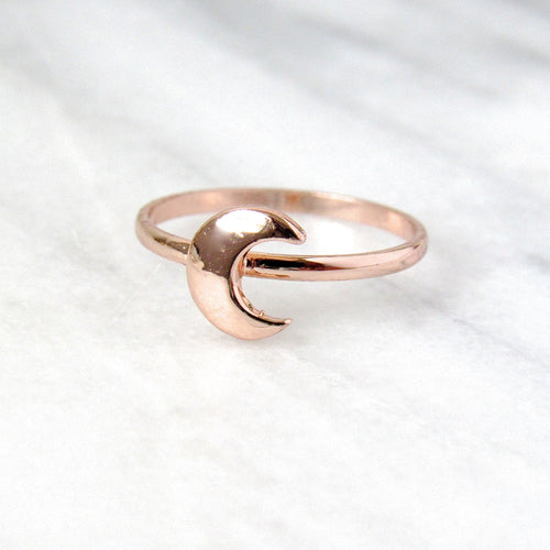 Rose Gold Crescent Moon Rings