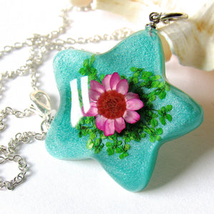 (On Sale!) Glittering Sea Real Flower Necklaces