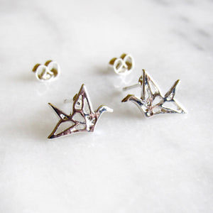 Silver Oragami Earrings