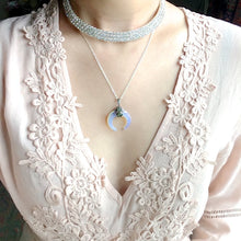 Load image into Gallery viewer, Opalite Crescent Moon Necklaces