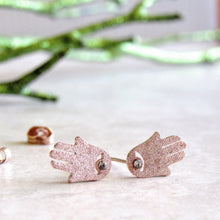 Load image into Gallery viewer, Sparkling Rose Gold Hamsa Earrings