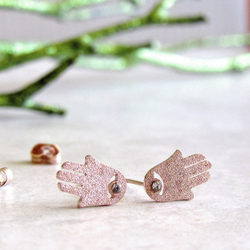 Sparkling Rose Gold Hamsa Earrings