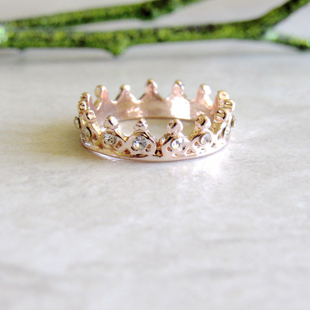Rose Gold Jeweled Crown Rings