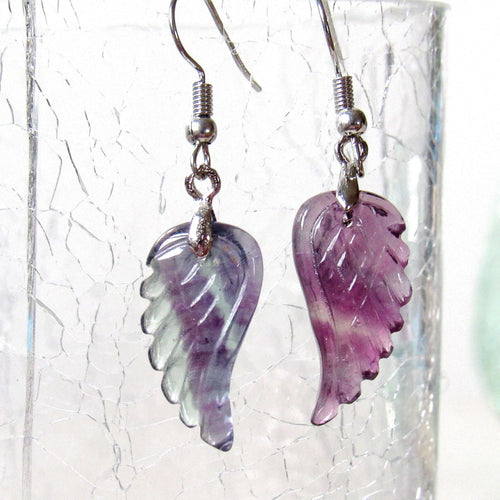 Mini Rainbow Fluorite Angel Wing Earrings