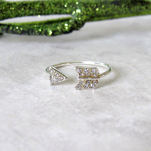 Silver Jeweled Arrow Rings