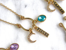 Load image into Gallery viewer, (New!) Jeweled Zodiac Charm Necklaces (12 choices)