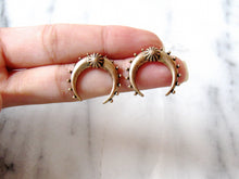 Load image into Gallery viewer, Antique Gold Crescent Moon Earrings