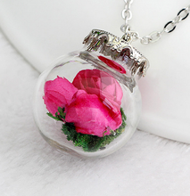 Load image into Gallery viewer, (On Sale!) Magenta Flower Bud Globes Necklaces