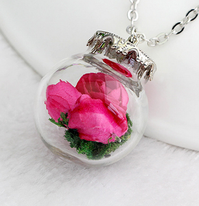 (On Sale!) Magenta Flower Bud Globes Necklaces
