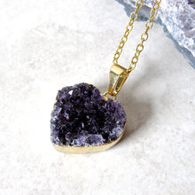 Load image into Gallery viewer, Amethyst Heart Cluster Necklaces