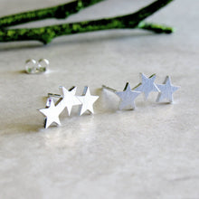 Load image into Gallery viewer, Silver Triple Star Earrings