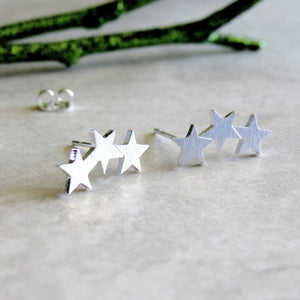 Silver Triple Star Earrings