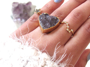 Amethyst Heart Rings