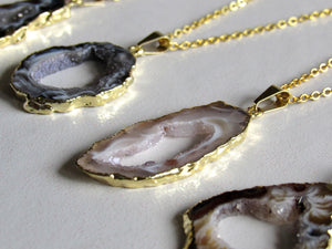 Gold Dipped Geode Slice Necklaces