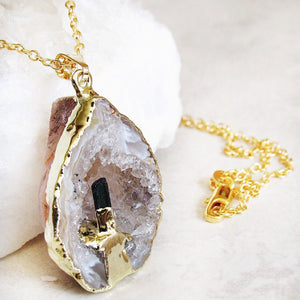 Oco Geode Tourmaline Point Necklaces