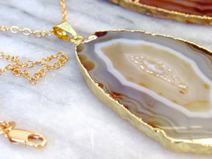 (New!) Golden Agate Slice Necklaces