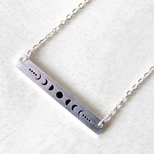 Silver Moon Phase Necklaces