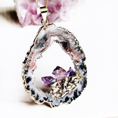 Amethyst Geode Necklaces (Gold)