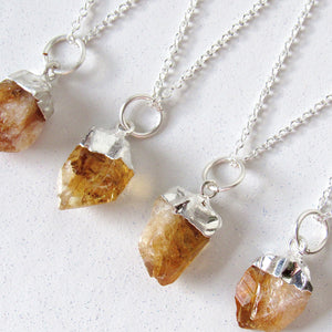 Silver Dipped Citrine Point Necklaces