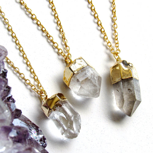 Mini Gold Quartz Point Necklaces