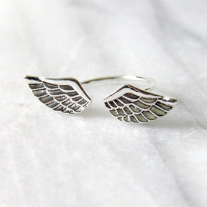 Silver Angel Wing Rings