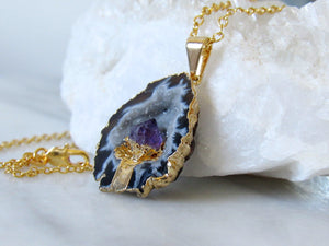 Oco Geode Amethyst Point Necklaces